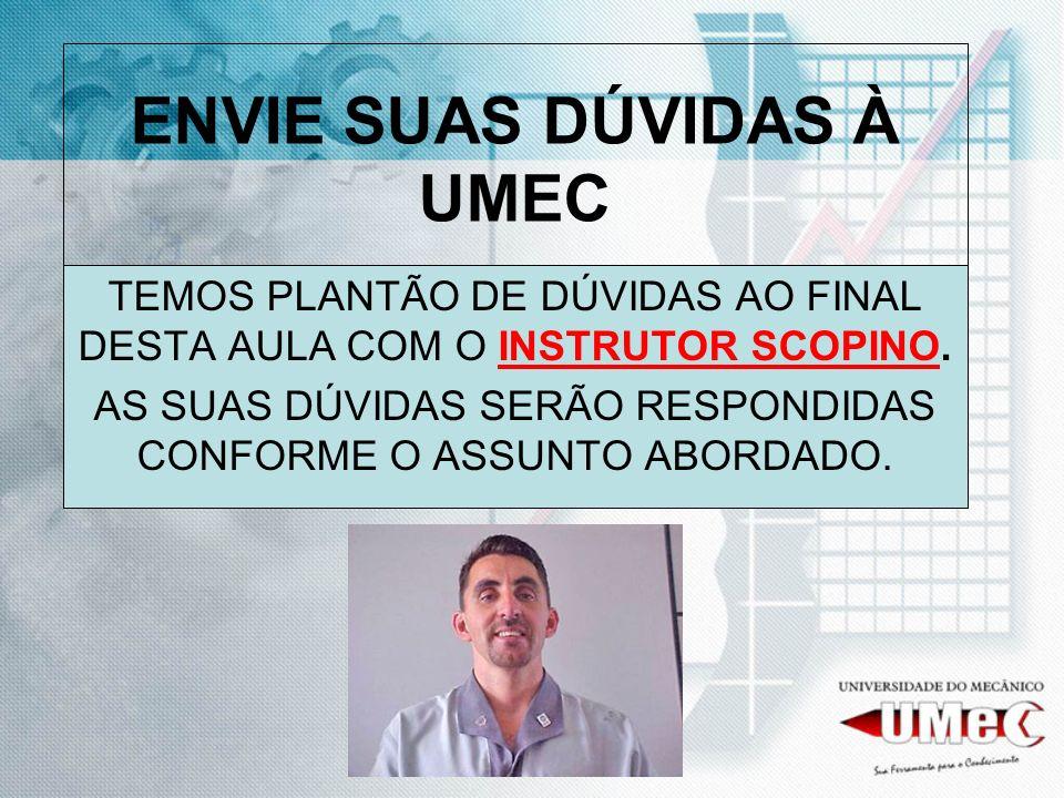 ENVIE SUAS DÚVIDAS À UMEC TEMOS PLANTÃO DE DÚVIDAS AO FINAL DESTA AULA COM O INSTRUTOR SCOPINO.