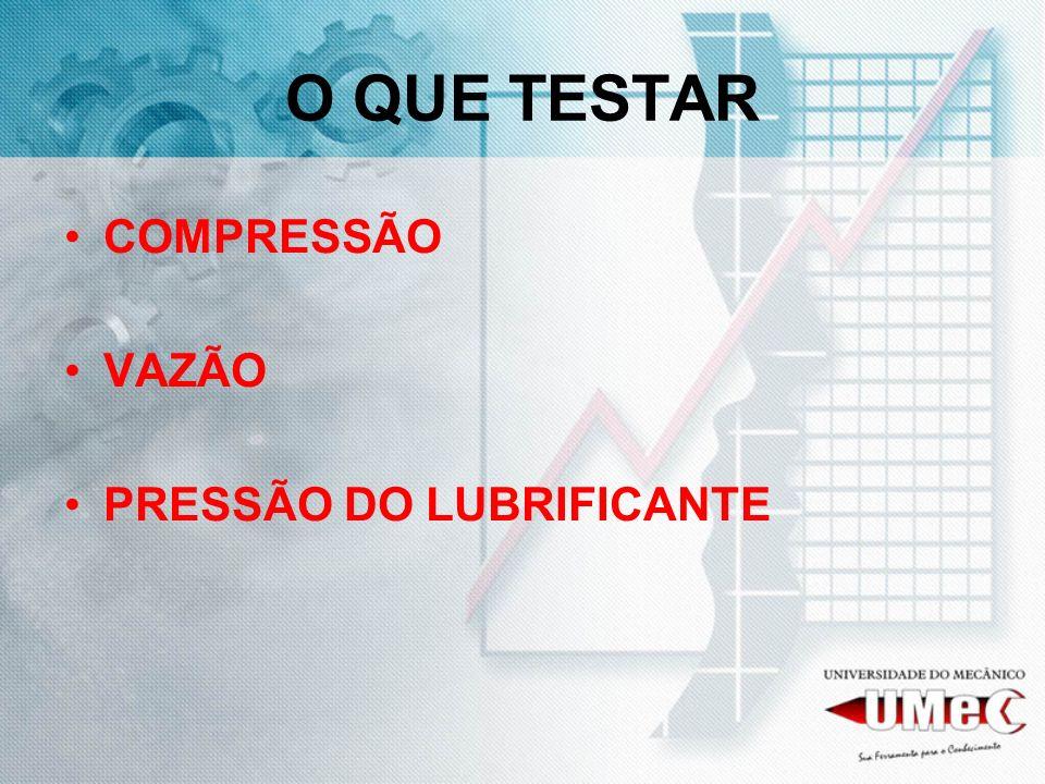 O QUE TESTAR COMPRESSÃO VAZÃO PRESSÃO DO LUBRIFICANTE