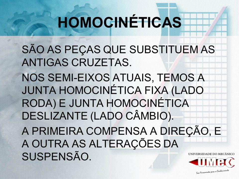 HOMOCINÉTICAS SÃO AS PEÇAS QUE SUBSTITUEM AS ANTIGAS CRUZETAS. NOS SEMI-EIXOS ATUAIS, TEMOS A JUNTA HOMOCINÉTICA FIXA (LADO RODA) E JUNTA HOMOCINÉTICA