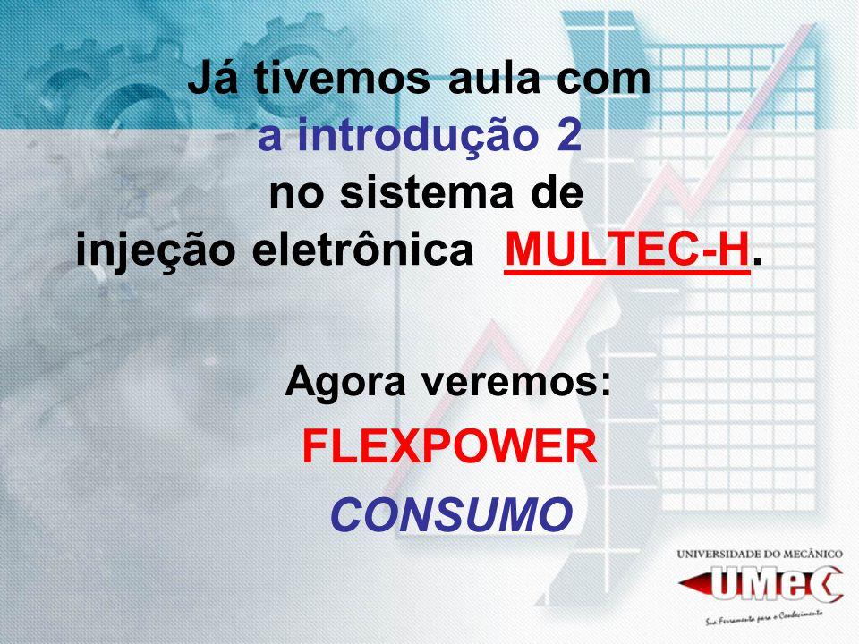 Já tivemos aula com a introdução 2 no sistema de injeção eletrônica MULTEC-H. Agora veremos: FLEXPOWER CONSUMO