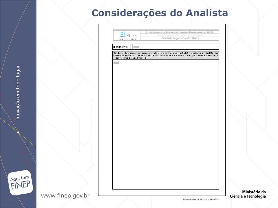 Considerações do Analista