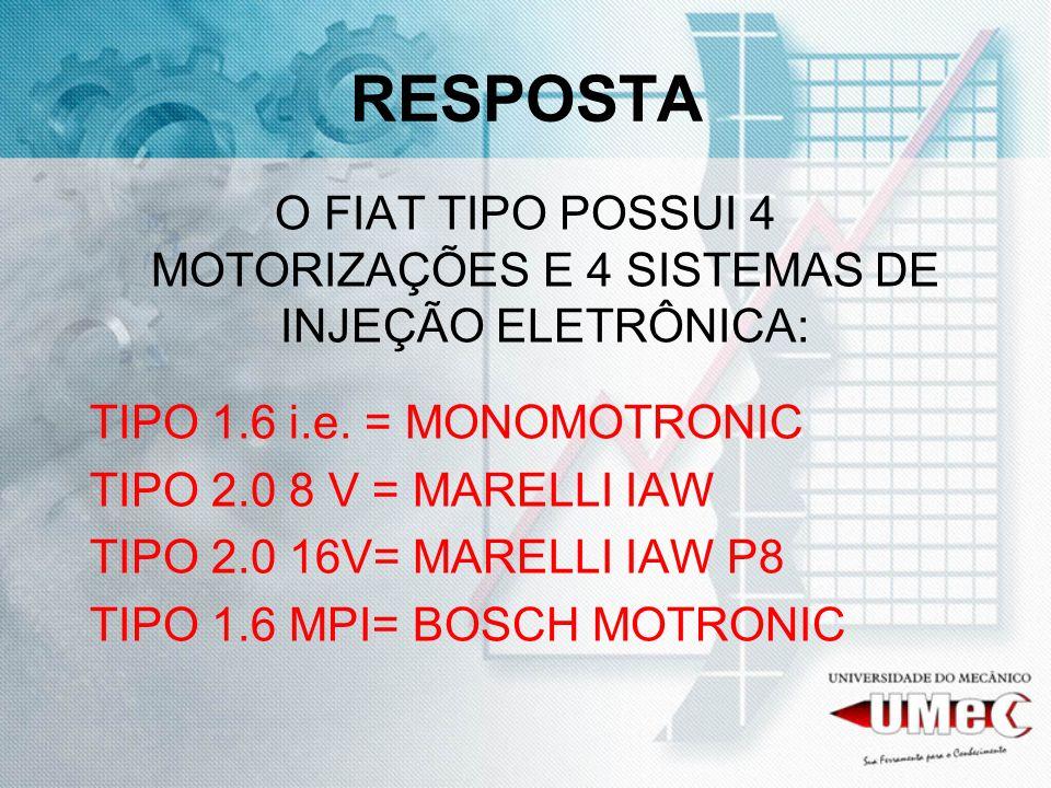 RESPOSTA O FIAT TIPO POSSUI 4 MOTORIZAÇÕES E 4 SISTEMAS DE INJEÇÃO ELETRÔNICA: TIPO 1.6 i.e. = MONOMOTRONIC TIPO 2.0 8 V = MARELLI IAW TIPO 2.0 16V= M