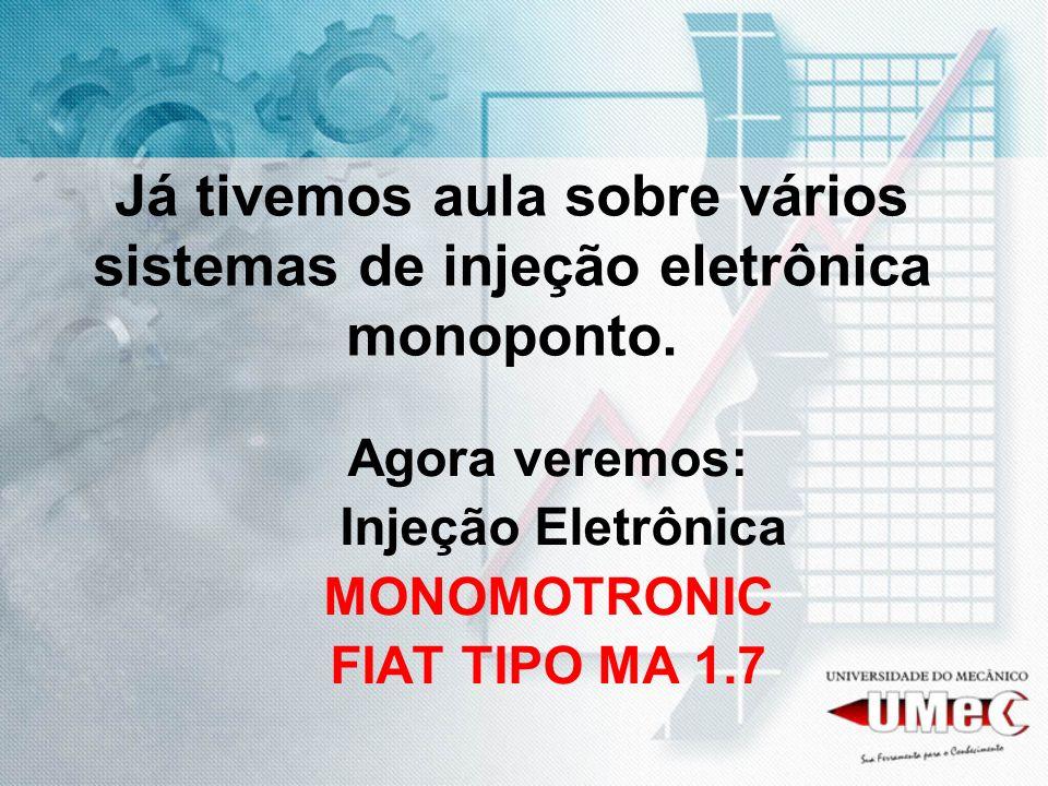 Já tivemos aula sobre vários sistemas de injeção eletrônica monoponto. Agora veremos: Injeção Eletrônica MONOMOTRONIC FIAT TIPO MA 1.7