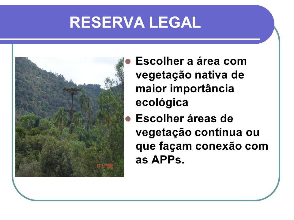 RESERVA LEGAL Escolher a área com vegetação nativa de maior importância ecológica Escolher áreas de vegetação contínua ou que façam conexão com as APP