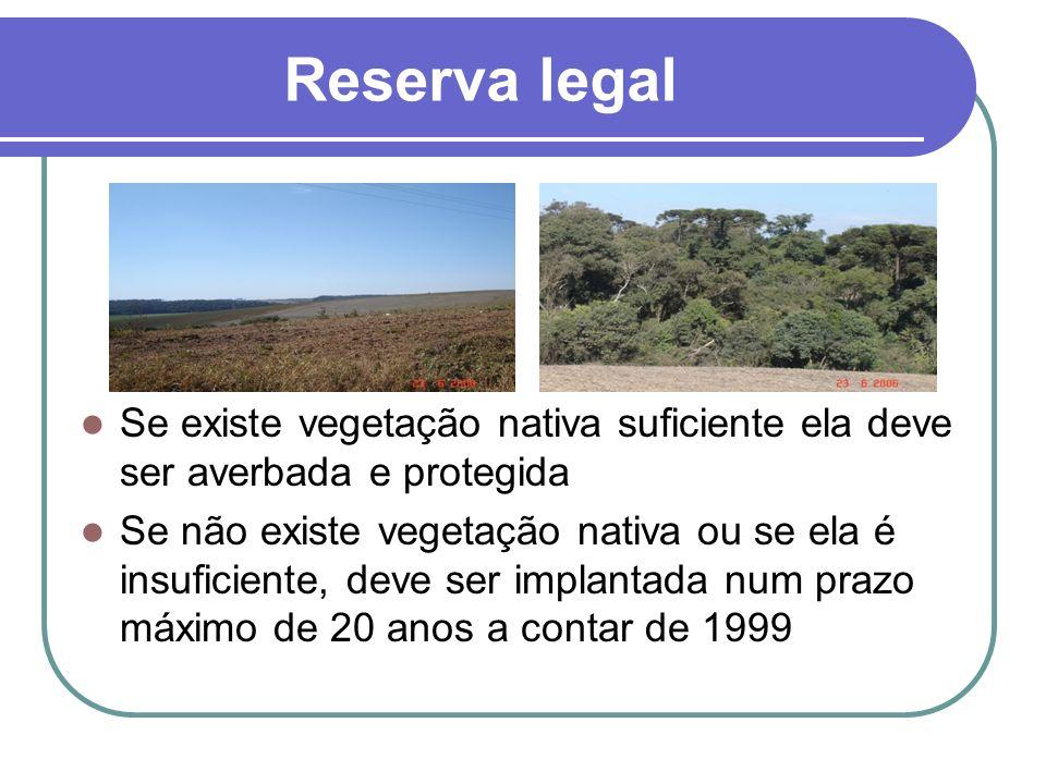 Reserva legal Se existe vegetação nativa suficiente ela deve ser averbada e protegida Se não existe vegetação nativa ou se ela é insuficiente, deve se