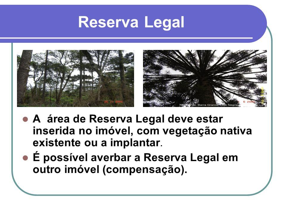 Reserva Legal A área de Reserva Legal deve estar inserida no imóvel, com vegetação nativa existente ou a implantar. É possível averbar a Reserva Legal