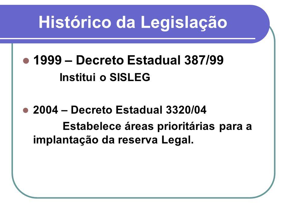 Histórico da Legislação 1999 – Decreto Estadual 387/99 Institui o SISLEG 2004 – Decreto Estadual 3320/04 Estabelece áreas prioritárias para a implanta