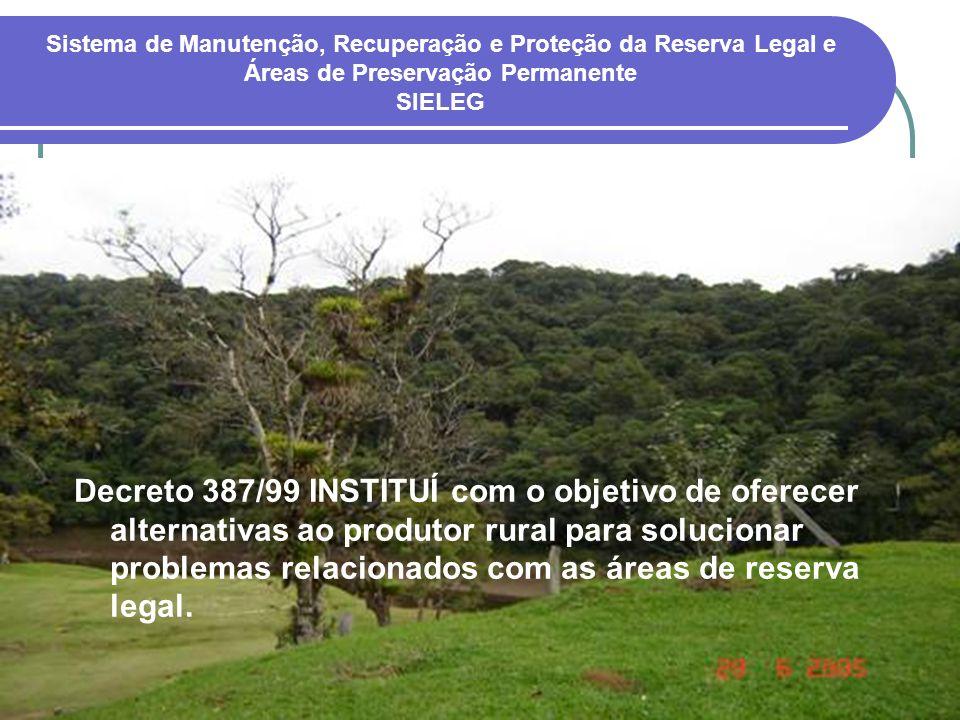 Decreto 387/99 INSTITUÍ com o objetivo de oferecer alternativas ao produtor rural para solucionar problemas relacionados com as áreas de reserva legal