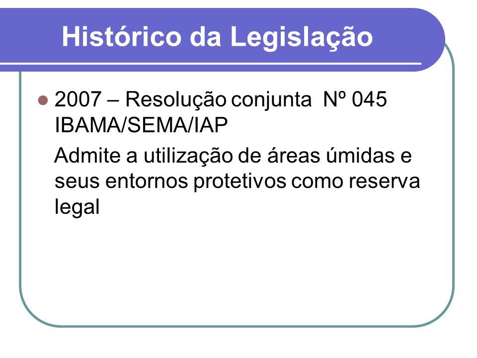 Histórico da Legislação 2007 – Resolução conjunta Nº 045 IBAMA/SEMA/IAP Admite a utilização de áreas úmidas e seus entornos protetivos como reserva le