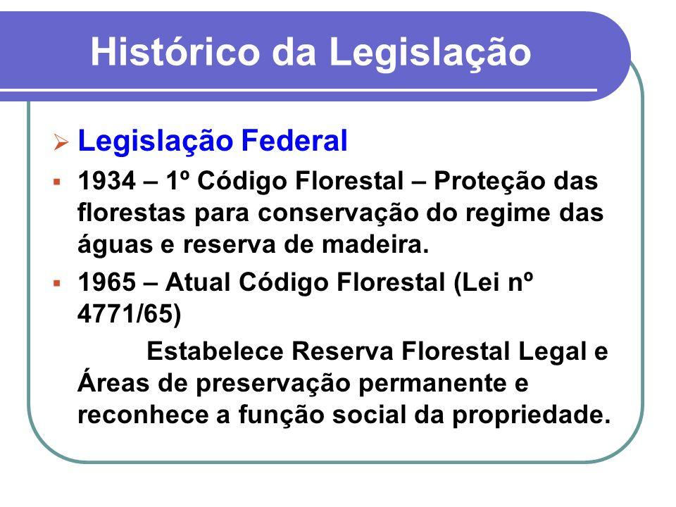 Histórico da Legislação Legislação Federal 1934 – 1º Código Florestal – Proteção das florestas para conservação do regime das águas e reserva de madei
