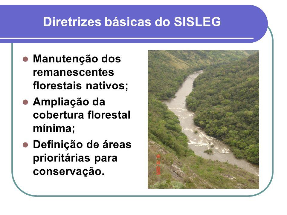Diretrizes básicas do SISLEG Manutenção dos remanescentes florestais nativos; Ampliação da cobertura florestal mínima; Definição de áreas prioritárias