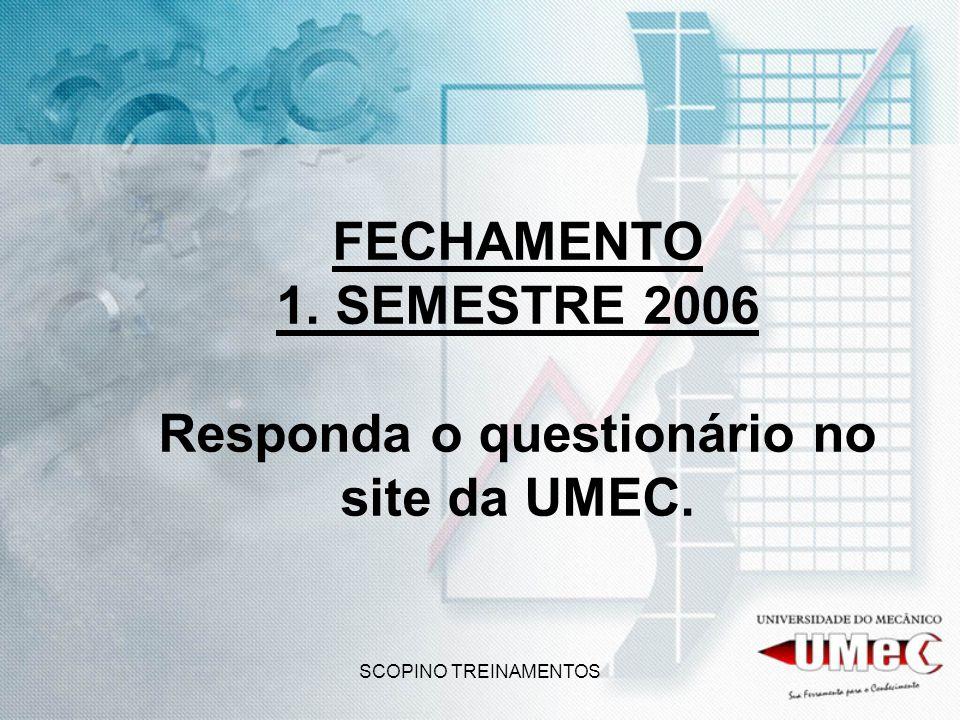 SCOPINO TREINAMENTOS FECHAMENTO 1. SEMESTRE 2006 Responda o questionário no site da UMEC.