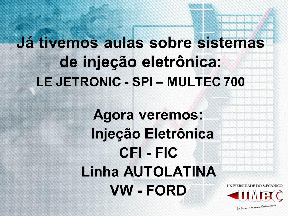 CFI Trata-se de um sistema fabricado pela FIC (Ford Industria e Comércio), e com apenas um injetor para alimentar o motor de 4 cilindros.