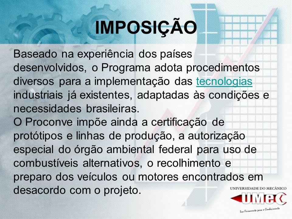 IMPOSIÇÃO Baseado na experiência dos países desenvolvidos, o Programa adota procedimentos diversos para a implementação das tecnologias industriais já