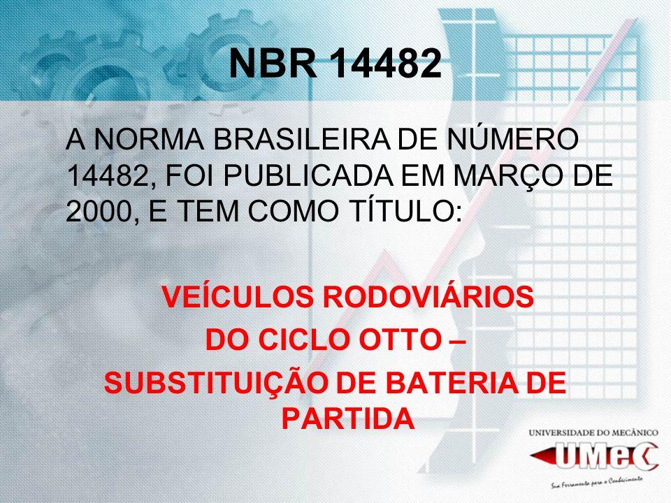 NBR 14482 A NORMA BRASILEIRA DE NÚMERO 14482, FOI PUBLICADA EM MARÇO DE 2000, E TEM COMO TÍTULO: VEÍCULOS RODOVIÁRIOS DO CICLO OTTO – SUBSTITUIÇÃO DE