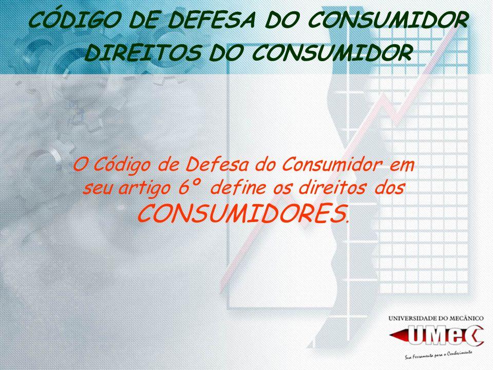 CÓDIGO DE DEFESA DO CONSUMIDOR DIREITOS DO CONSUMIDOR O Código de Defesa do Consumidor em seu artigo 6º define os direitos dos CONSUMIDORES.