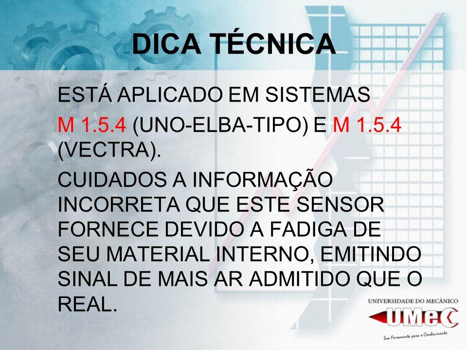 DICA TÉCNICA ESTÁ APLICADO EM SISTEMAS M 1.5.4 (UNO-ELBA-TIPO) E M 1.5.4 (VECTRA). CUIDADOS A INFORMAÇÃO INCORRETA QUE ESTE SENSOR FORNECE DEVIDO A FA
