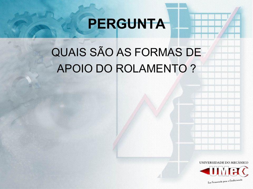 PERGUNTA QUAIS SÃO AS FORMAS DE APOIO DO ROLAMENTO ?