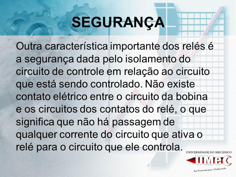 SEGURANÇA Outra característica importante dos relés é a segurança dada pelo isolamento do circuito de controle em relação ao circuito que está sendo controlado.