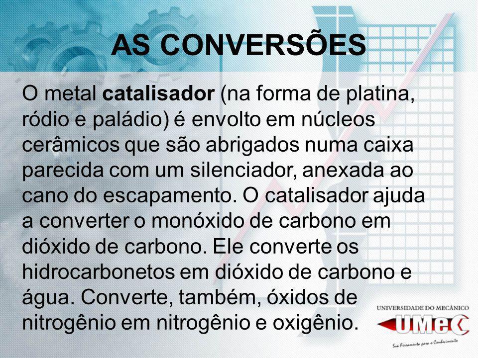 AS CONVERSÕES O metal catalisador (na forma de platina, ródio e paládio) é envolto em núcleos cerâmicos que são abrigados numa caixa parecida com um s