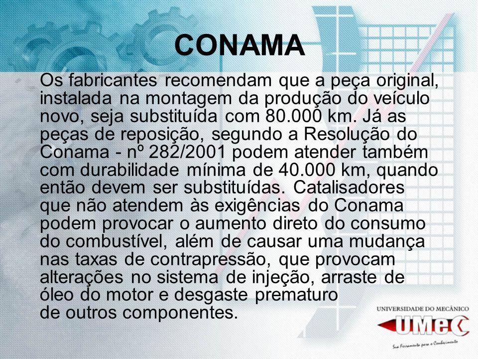 CONAMA Os fabricantes recomendam que a peça original, instalada na montagem da produção do veículo novo, seja substituída com 80.000 km. Já as peças d