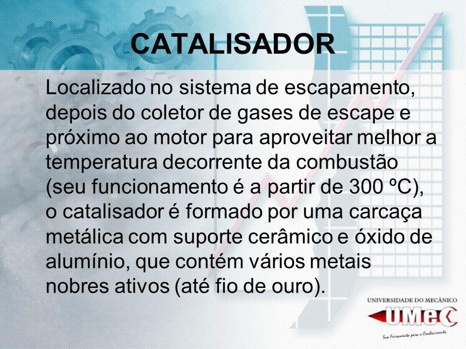 CATALISADOR Localizado no sistema de escapamento, depois do coletor de gases de escape e próximo ao motor para aproveitar melhor a temperatura decorre