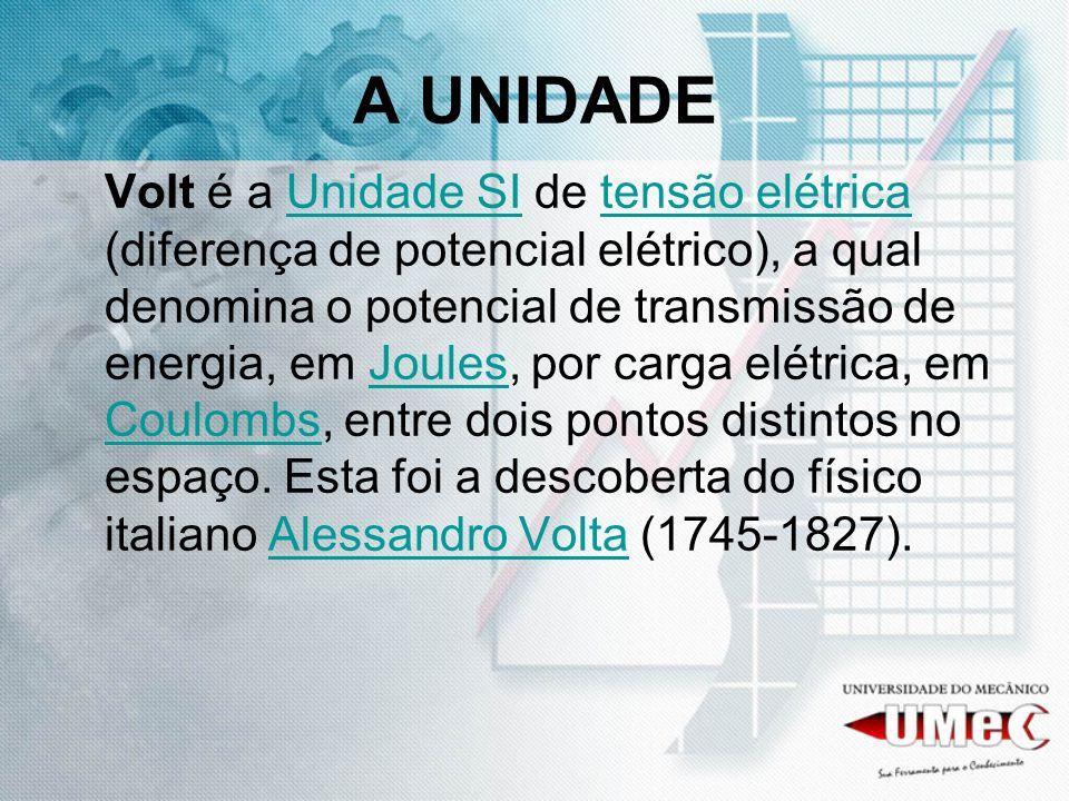 A UNIDADE Volt é a Unidade SI de tensão elétrica (diferença de potencial elétrico), a qual denomina o potencial de transmissão de energia, em Joules,