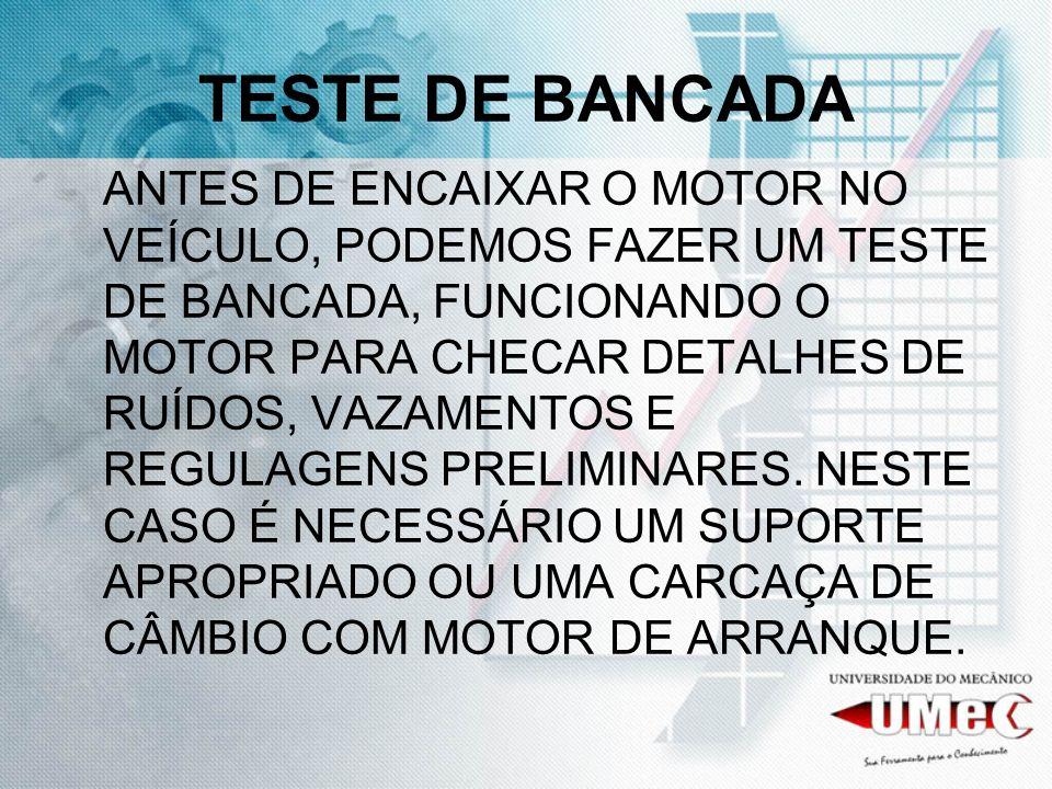 ACESSÓRIOS ESTE TESTE É VÁLIDO PARA MOTORES COM CARBURADOR; PARA O TESTE DE BANCADA É NECESSÁRIO INSTALAR A ALIMENTAÇÃO ELÉTRICA DA BOBINA E MOTOR DE ARRANQUE, COMBUSTÍVEL NA BOMBA E MEDIDOR DE PRESSÃO DE ÓLEO NO LUGAR DO INTERRUPTOR DE LUZ.