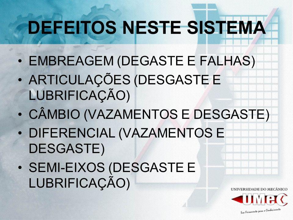 DEFEITOS NESTE SISTEMA EMBREAGEM (DEGASTE E FALHAS) ARTICULAÇÕES (DESGASTE E LUBRIFICAÇÃO) CÂMBIO (VAZAMENTOS E DESGASTE) DIFERENCIAL (VAZAMENTOS E DE