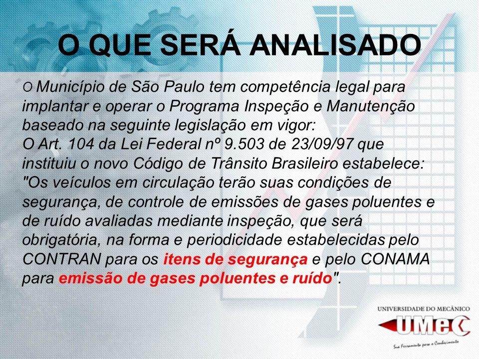 O QUE SERÁ ANALISADO O Município de São Paulo tem competência legal para implantar e operar o Programa Inspeção e Manutenção baseado na seguinte legislação em vigor: O Art.