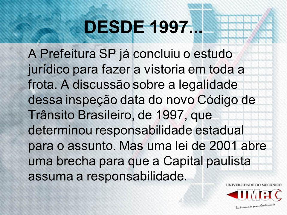 DESDE 1997... A Prefeitura SP já concluiu o estudo jurídico para fazer a vistoria em toda a frota.