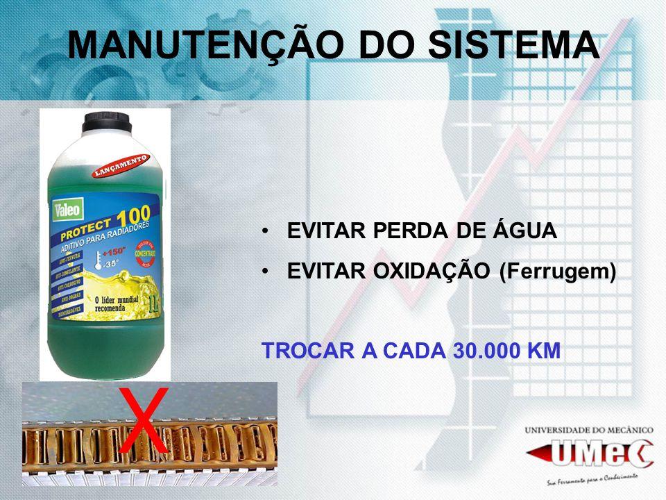 MANUTENÇÃO DO SISTEMA EVITAR PERDA DE ÁGUA EVITAR OXIDAÇÃO (Ferrugem) TROCAR A CADA 30.000 KM X