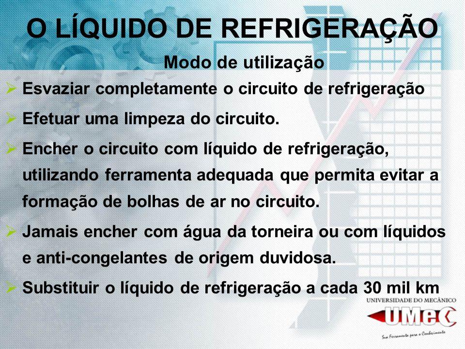 Esvaziar completamente o circuito de refrigeração Efetuar uma limpeza do circuito. Encher o circuito com líquido de refrigeração, utilizando ferrament