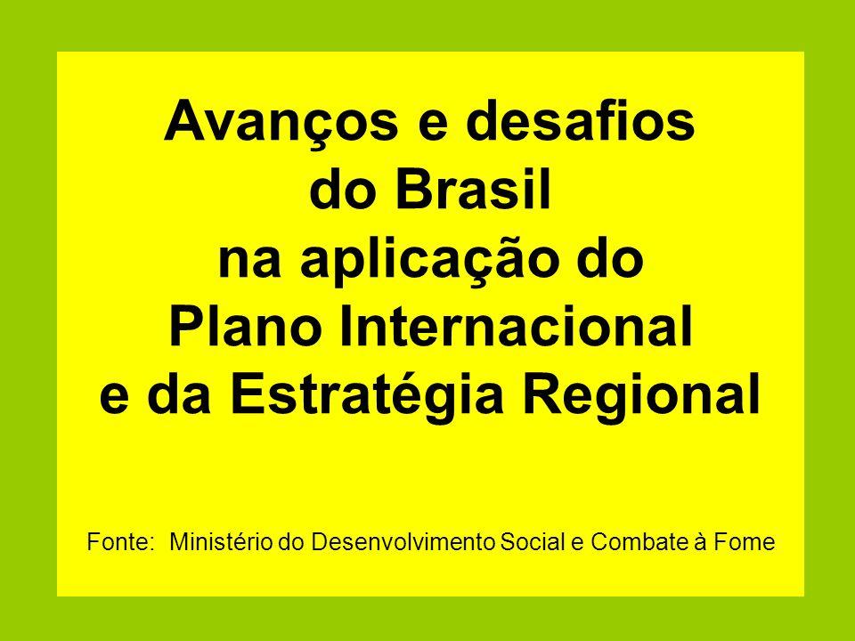 Avanços e desafios do Brasil na aplicação do Plano Internacional e da Estratégia Regional Fonte: Ministério do Desenvolvimento Social e Combate à Fome