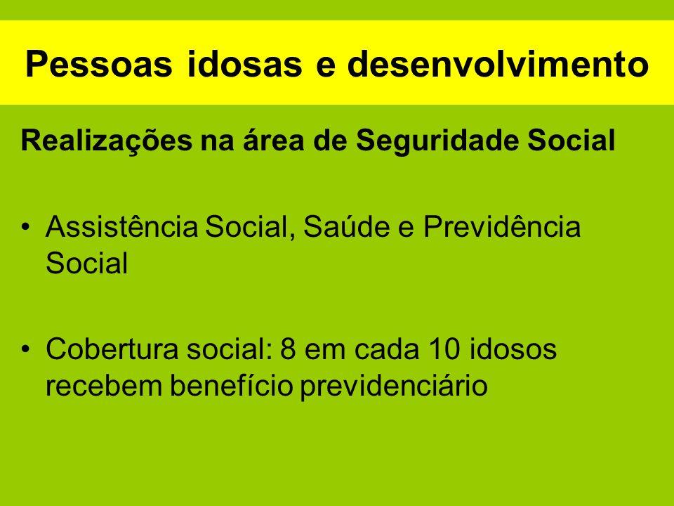 Pessoas idosas e desenvolvimento Realizações na área de Seguridade Social Assistência Social, Saúde e Previdência Social Cobertura social: 8 em cada 1