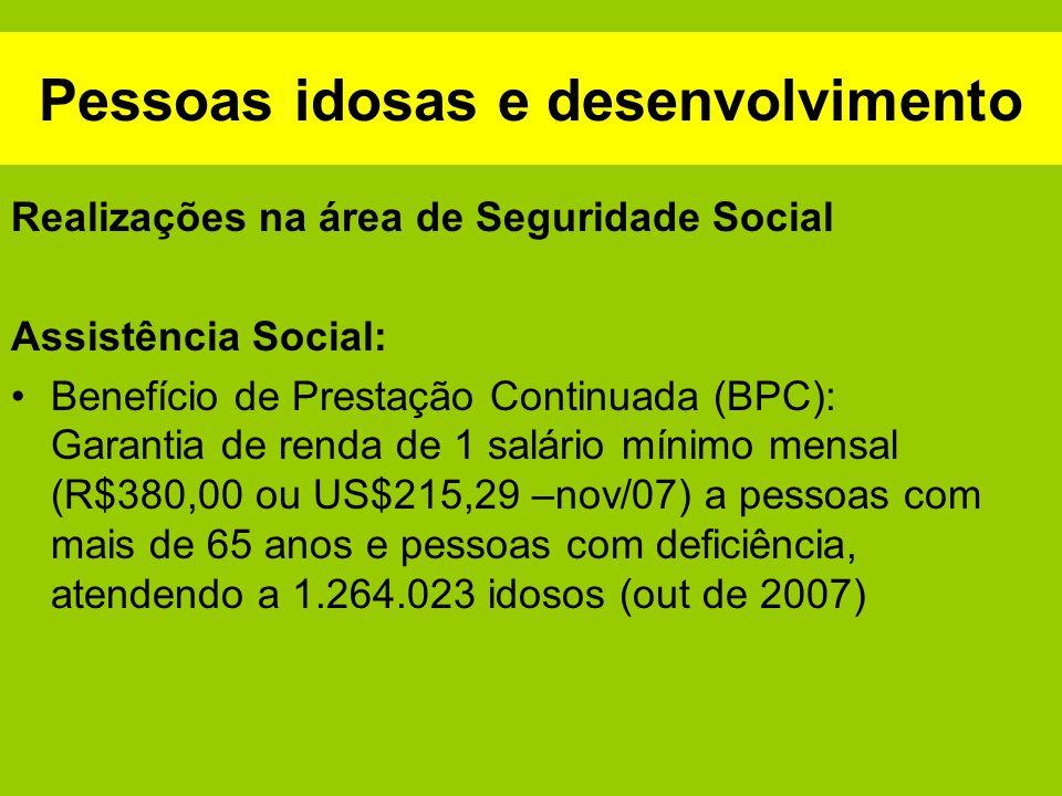 Pessoas idosas e desenvolvimento Realizações na área de Seguridade Social Assistência Social: Benefício de Prestação Continuada (BPC): Garantia de ren