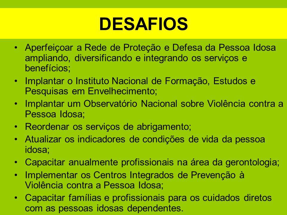 DESAFIOS Aperfeiçoar a Rede de Proteção e Defesa da Pessoa Idosa ampliando, diversificando e integrando os serviços e benefícios; Implantar o Institut