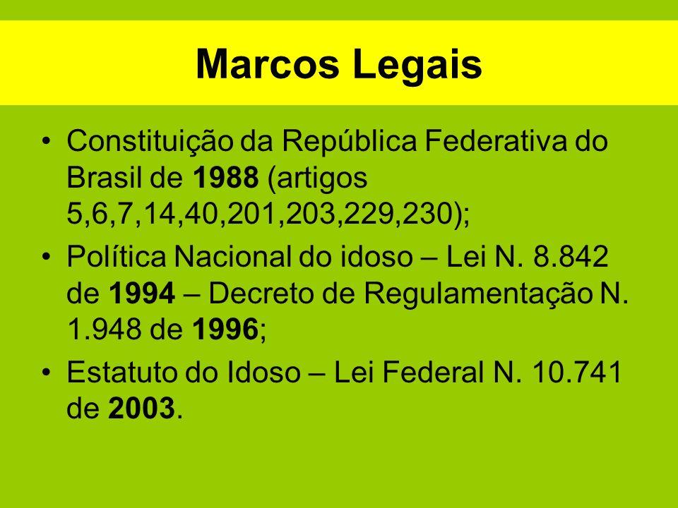 Marcos Legais Constituição da República Federativa do Brasil de 1988 (artigos 5,6,7,14,40,201,203,229,230); Política Nacional do idoso – Lei N. 8.842