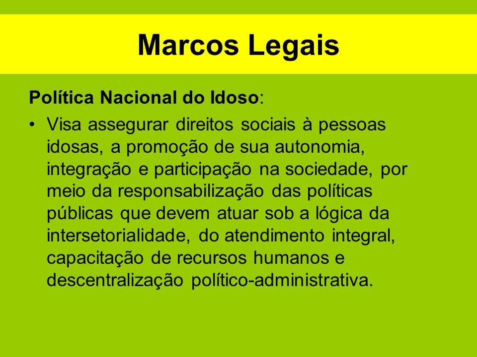 Marcos Legais Política Nacional do Idoso: Visa assegurar direitos sociais à pessoas idosas, a promoção de sua autonomia, integração e participação na