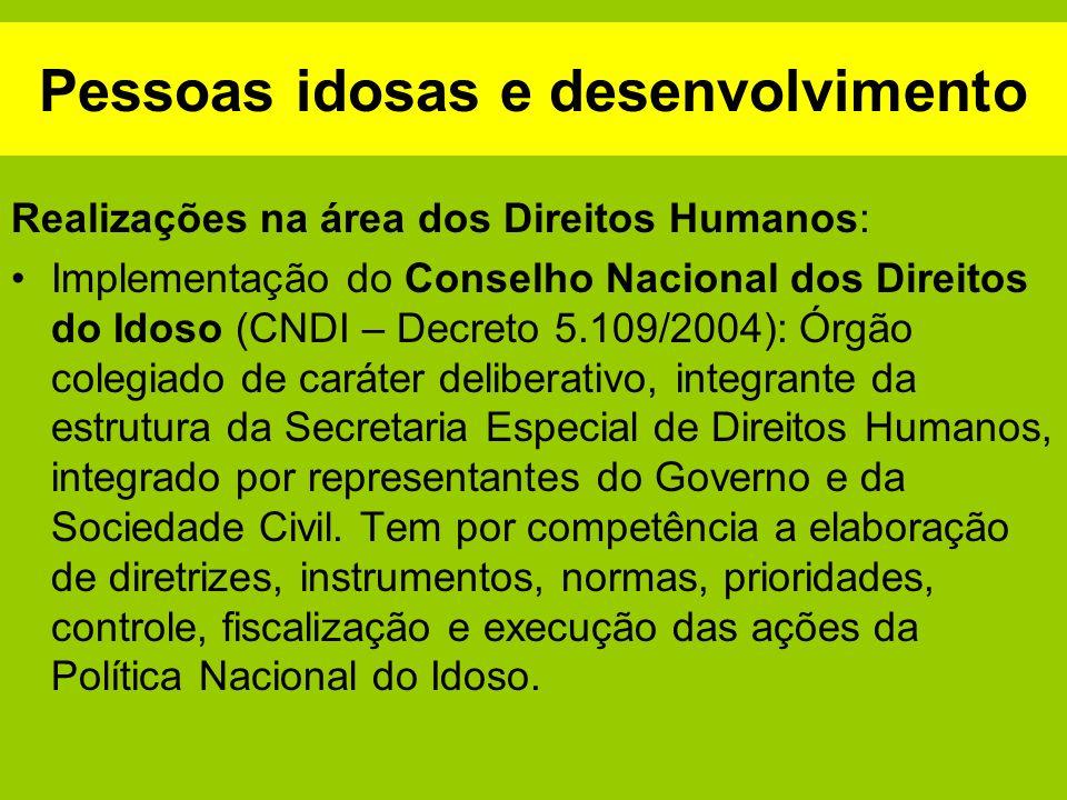 Pessoas idosas e desenvolvimento Realizações na área dos Direitos Humanos: Implementação do Conselho Nacional dos Direitos do Idoso (CNDI – Decreto 5.