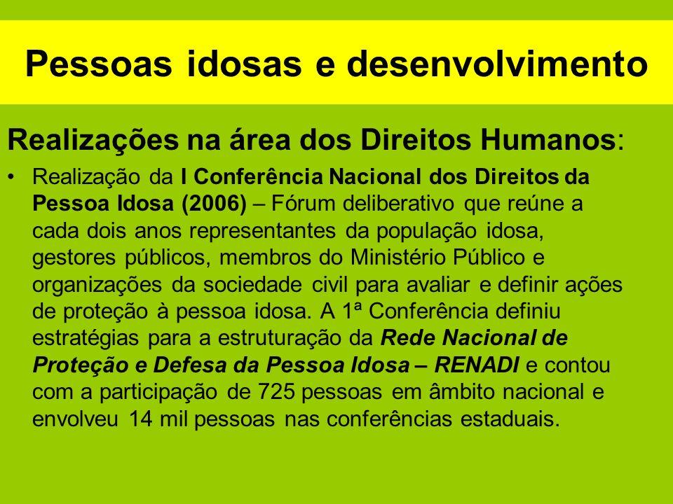 Pessoas idosas e desenvolvimento Realizações na área dos Direitos Humanos: Elaboração (2005) e implementação do Plano de Ação para o Enfrentamento da Violência contra a Pessoa Idosa.