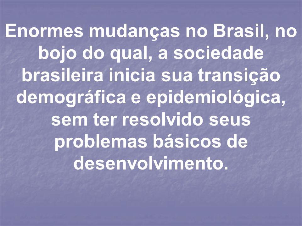 Enormes mudanças no Brasil, no bojo do qual, a sociedade brasileira inicia sua transição demográfica e epidemiológica, sem ter resolvido seus problema