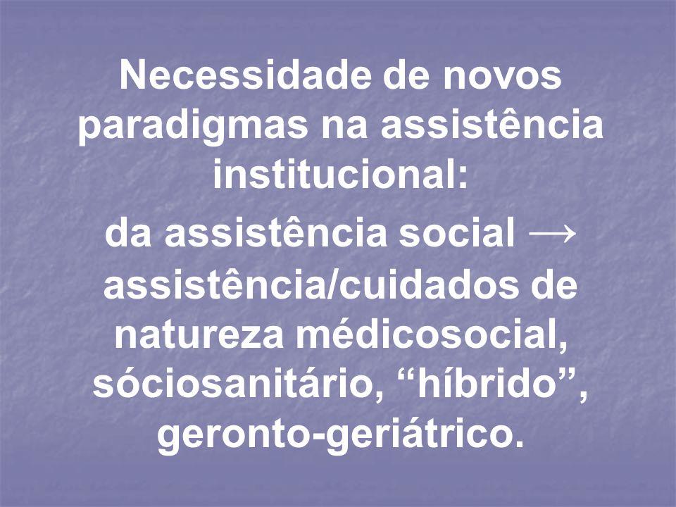 Necessidade de novos paradigmas na assistência institucional: da assistência social assistência/cuidados de natureza médicosocial, sóciosanitário, híb