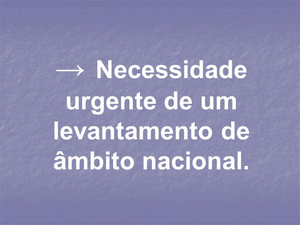 Necessidade urgente de um levantamento de âmbito nacional.