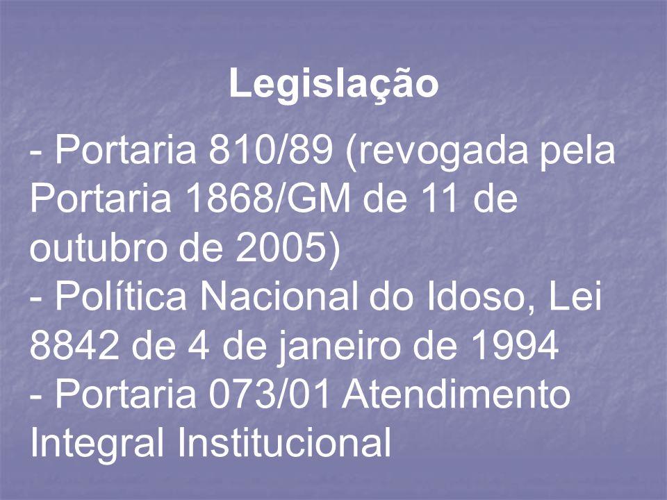 Legislação - Portaria 810/89 (revogada pela Portaria 1868/GM de 11 de outubro de 2005) - Política Nacional do Idoso, Lei 8842 de 4 de janeiro de 1994