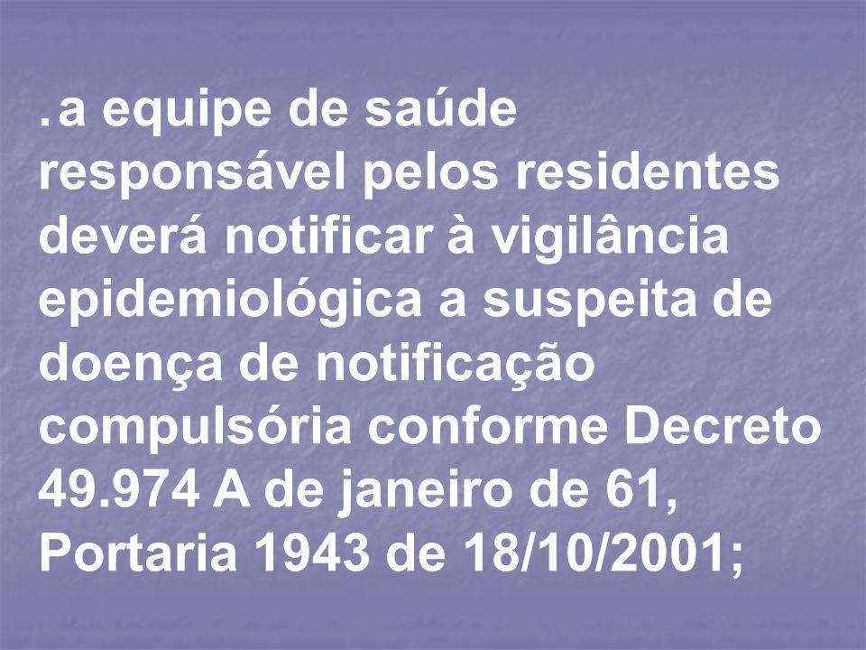 . a equipe de saúde responsável pelos residentes deverá notificar à vigilância epidemiológica a suspeita de doença de notificação compulsória conforme