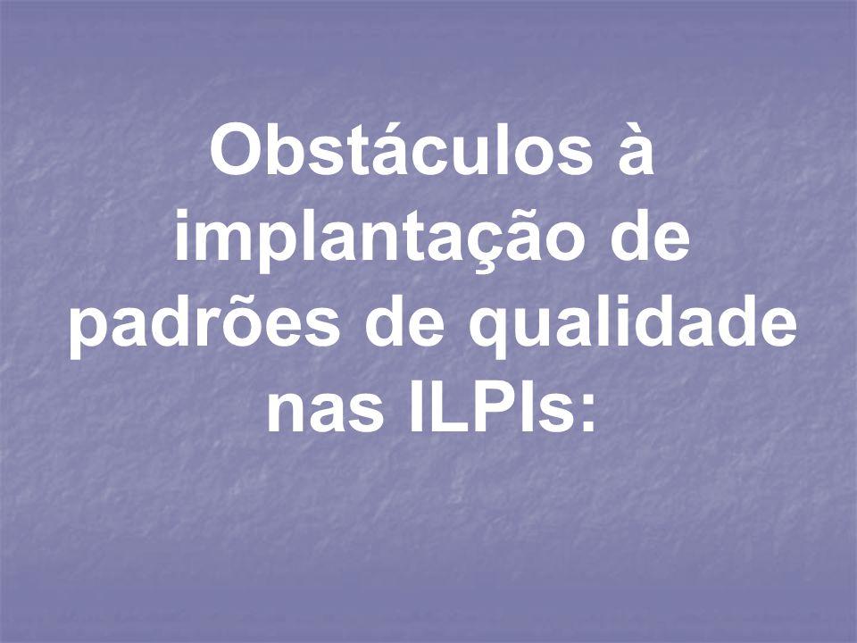 Obstáculos à implantação de padrões de qualidade nas ILPIs: