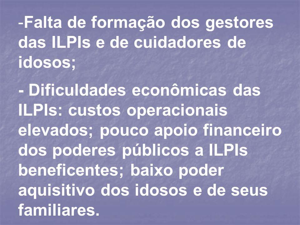 -Falta de formação dos gestores das ILPIs e de cuidadores de idosos; - Dificuldades econômicas das ILPIs: custos operacionais elevados; pouco apoio fi