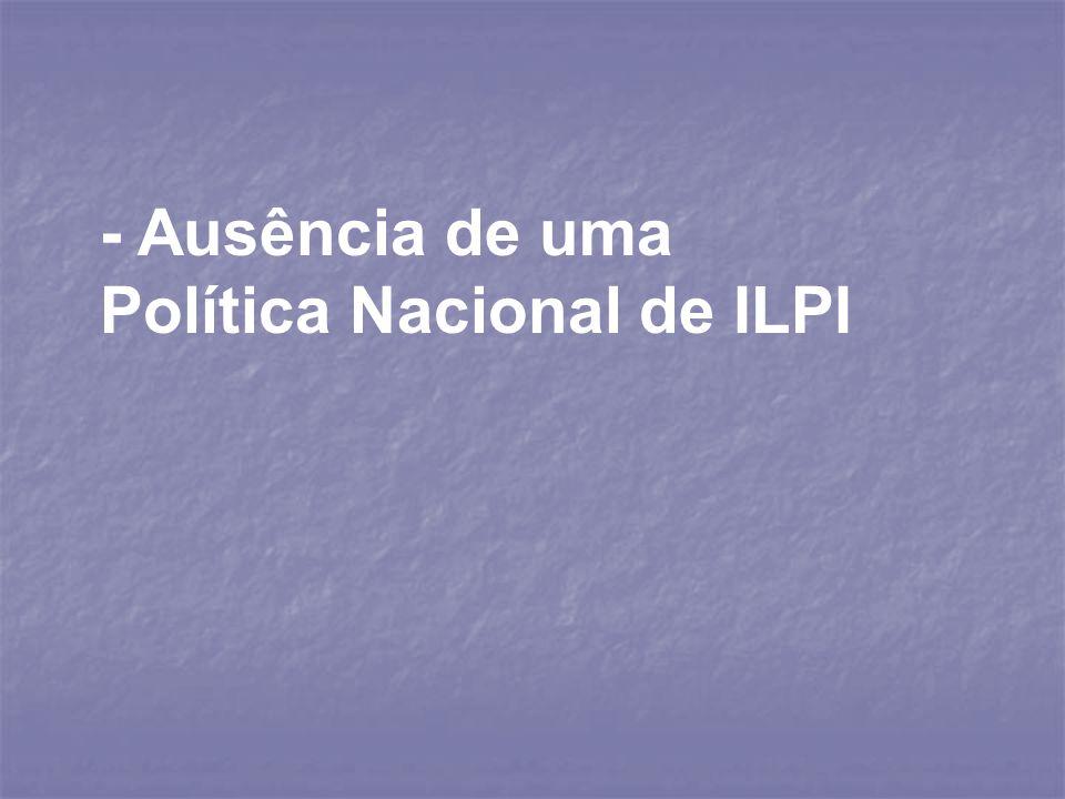 - Ausência de uma Política Nacional de ILPI
