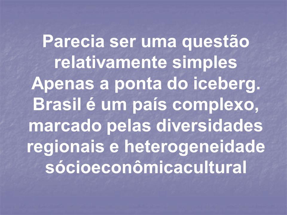 Parecia ser uma questão relativamente simples Apenas a ponta do iceberg. Brasil é um país complexo, marcado pelas diversidades regionais e heterogenei